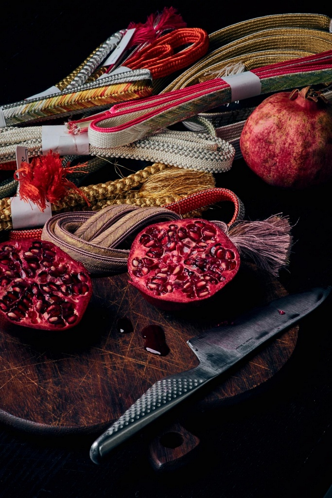 Still Life with Pomegranate and Textiles